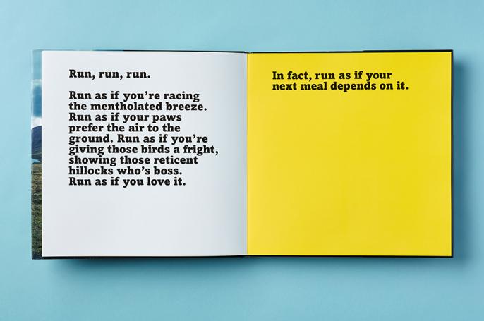 Translocation book spread typography - Run, run, run