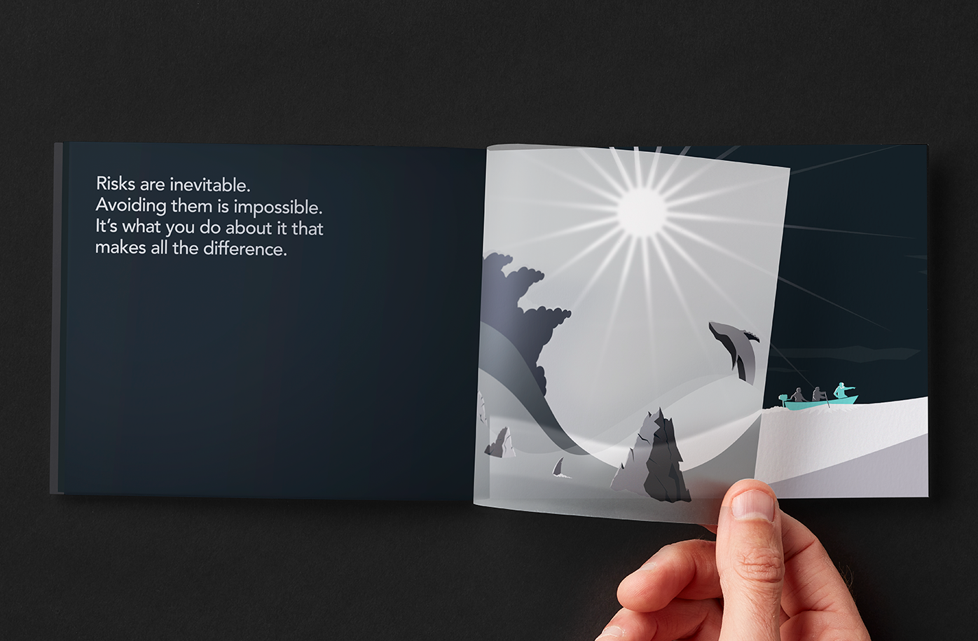 Illustration of team navigating through commodities markets on brochure spread