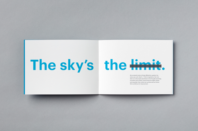 The sky is the limit - typography brochure spread