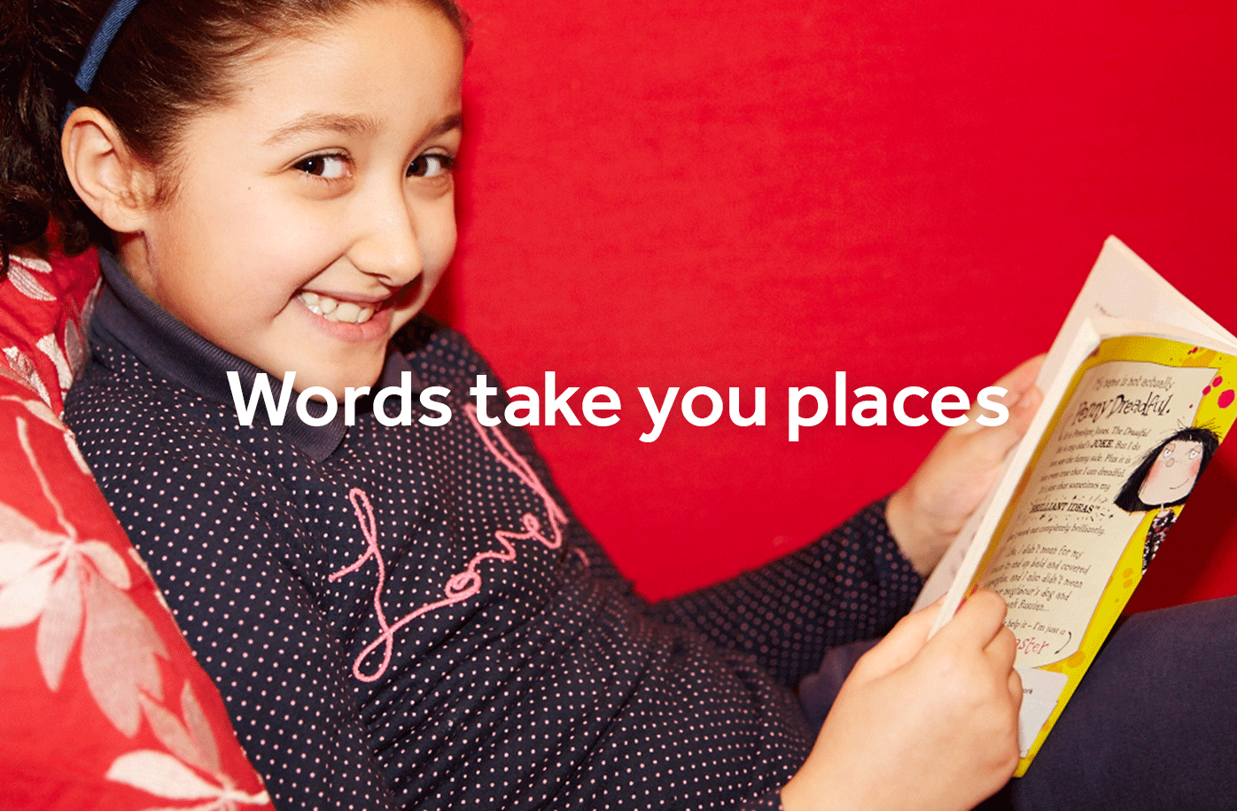 Words take you places - girl reading storybook